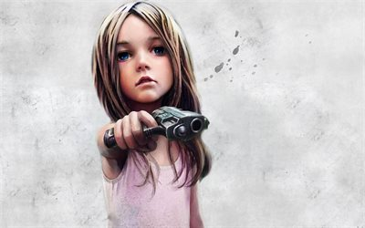 Sad Anime Quotes Wallpaper For Computers Download Wallpapers Little Girl Gun Blue Eyes Art