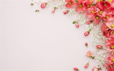 Download wallpapers floral background paper texture background with red flowers pink background floral frame for desktop free Pictures for desktop free
