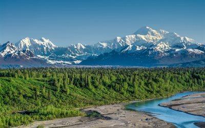 Scarica sfondi paesaggio di montagna foresta fiume estate Alaska Parco Nazionale di Denali