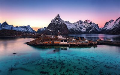 Cute Love Wallpaper Hq Download Wallpapers Lofoten Islands Mountains Sunset
