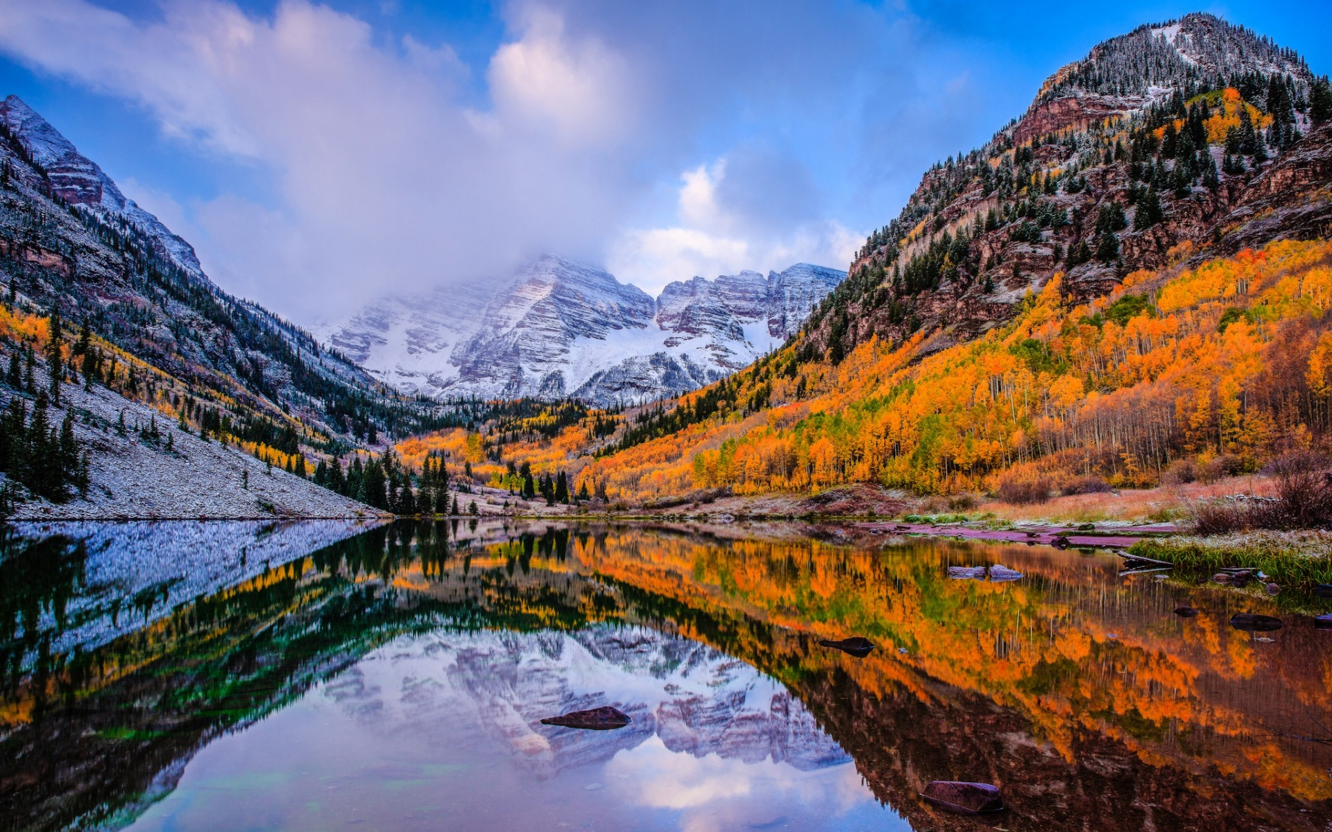 Fall Textures Wallpaper Download Wallpapers Maroon Bells Mountain Lake Autumn