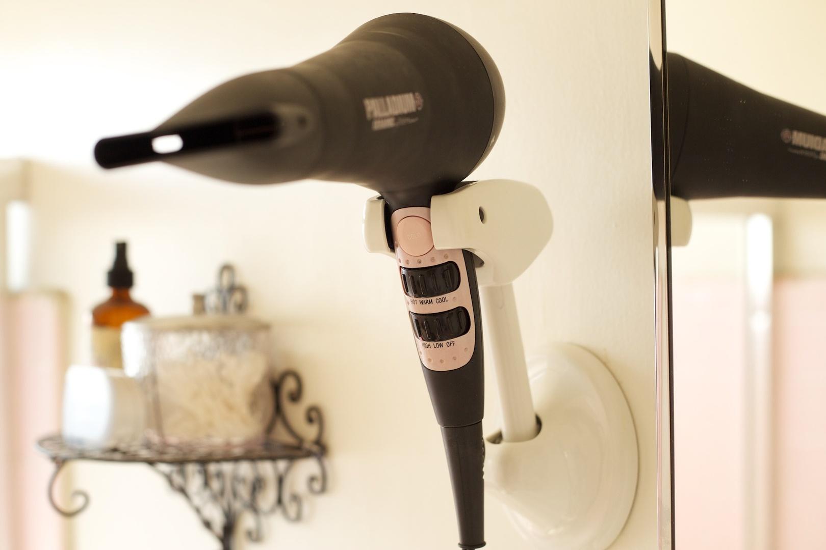 Wall Mount Deluxe Hair Dryer Holder