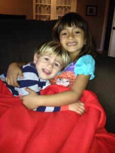 kids cuddled