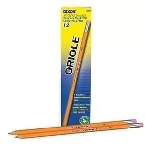 Pencils, no. 2, sharpened, Dixon Oriole, dozen 12 oack