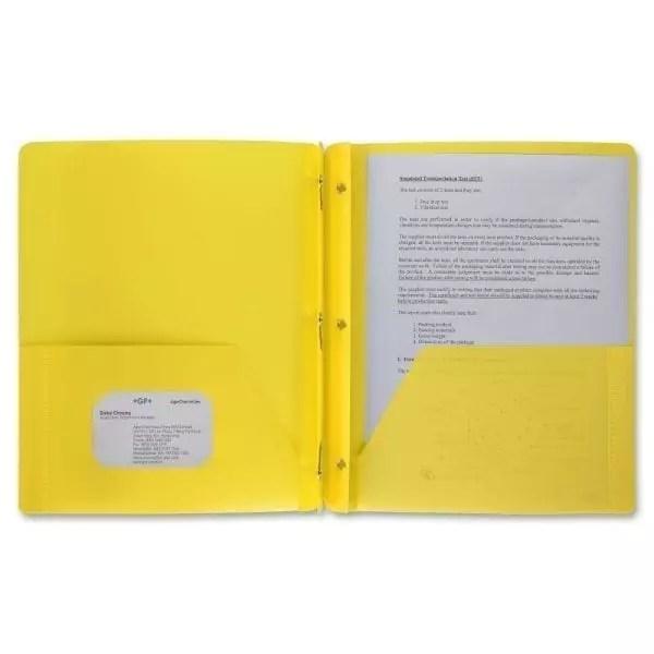 Folder pocket brad prong yellow