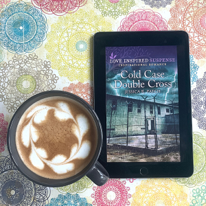 Cold Case Double Cross book cover and latte with hearts
