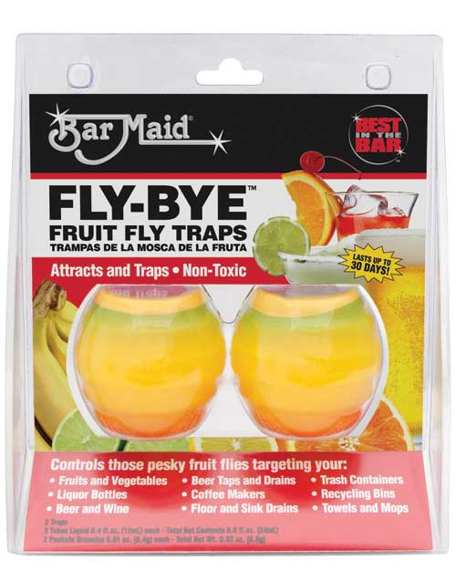 FRUIT FLY TRAP FLY-BYE LASTS UP TO 30 DAYS - 2 PER PKG 6 PKG