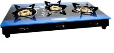 Milton Premium 3 Burner Glass Top (Blue) Manual LPG Stove with MS Frame & Brass Burners (ISI Certified)