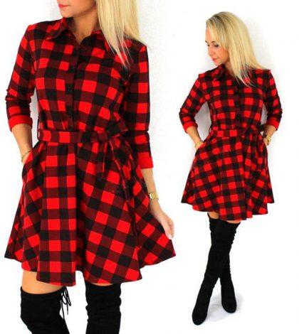 Autumn Plaid Dresses Leisure Vintage Dress