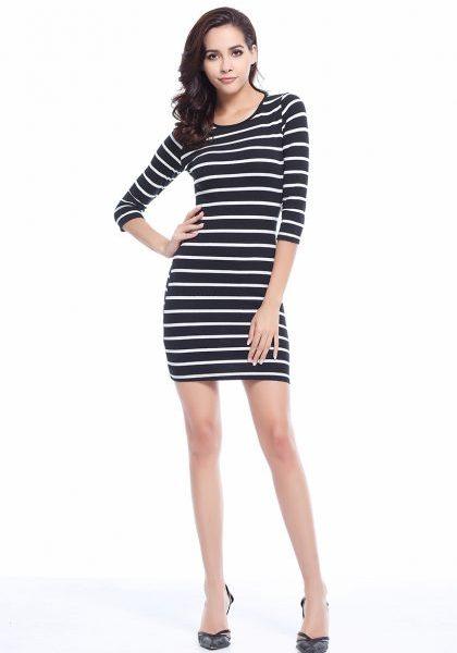 Fashion White Striped Dress Long Sleeve Casual Dress