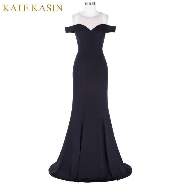 Long Black Prom Dress Floor Length Party Gown