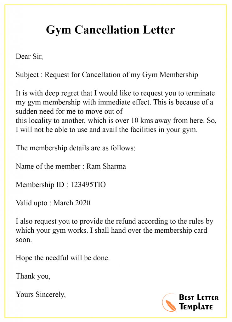 Gym Membership Cancellation Letter Examples : membership, cancellation, letter, examples, Sample, Cancellation, Letter, Template, Membership