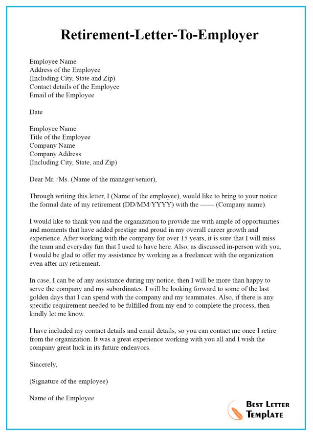 retirement letter from employer - Ferel