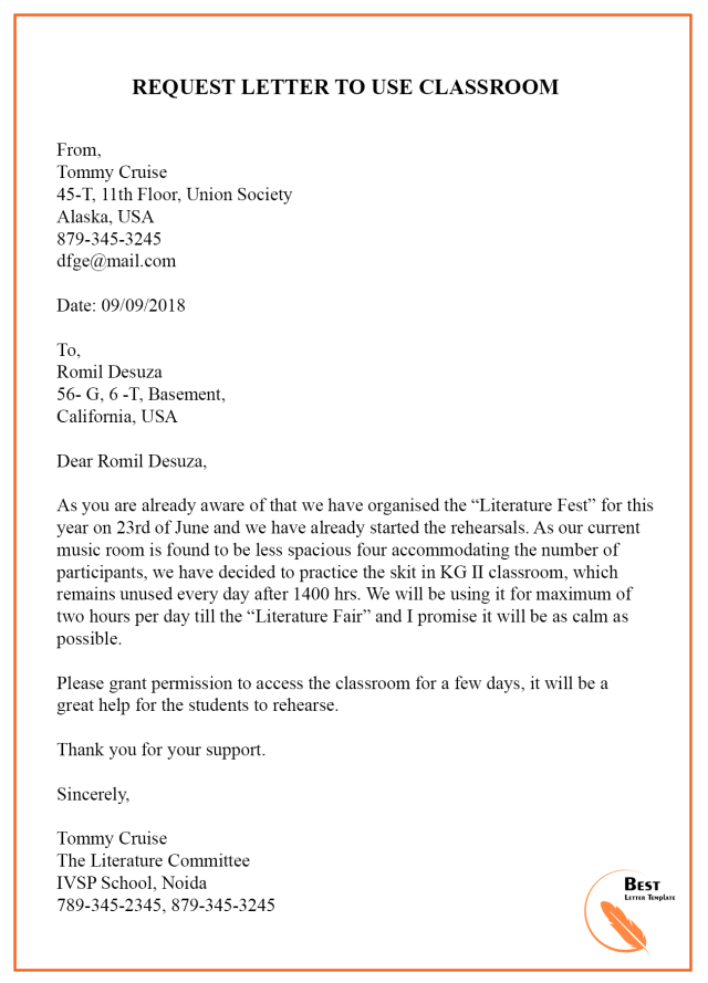 application letter to dc for permission to travel