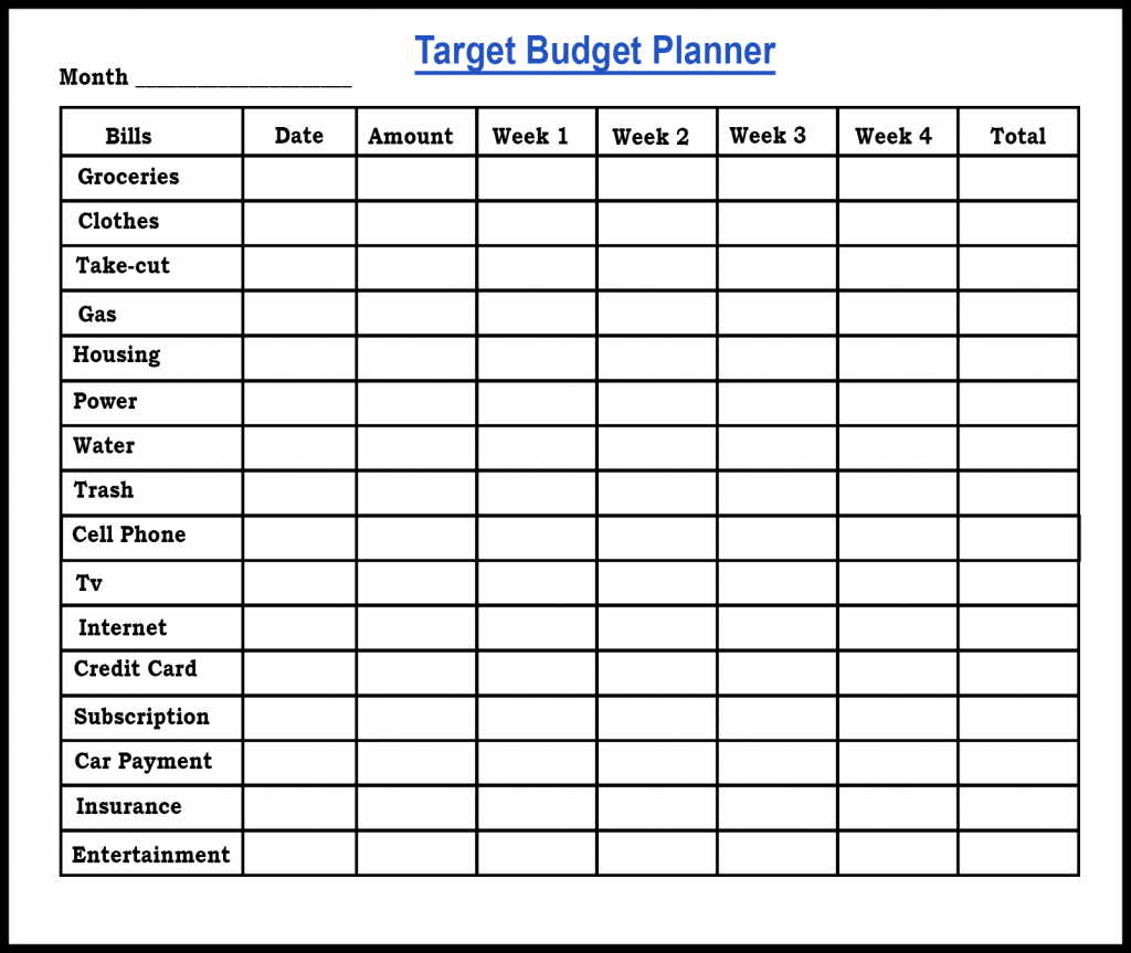 Free Sample Printable Budget Planner Template Word