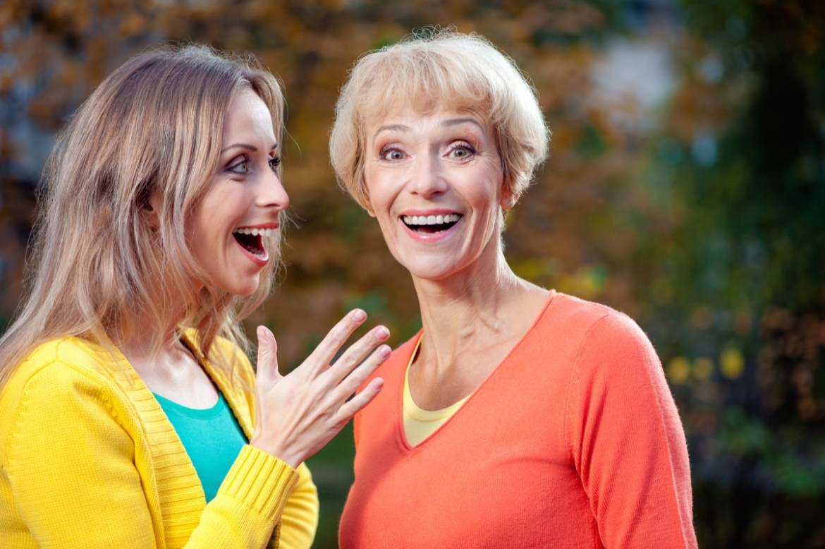 Older woman with daughter surprised