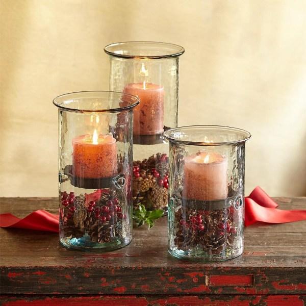 Blown Glass Hurricane Candle Holders