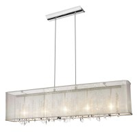 Rectangular Chandelier With Shade And Crystals
