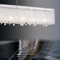 Rectangular Crystal Chandelier Organza Shade   Light ...