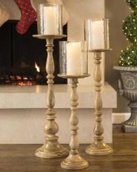 Tall Wooden Pillar Candle Holders   Light Fixtures Design ...