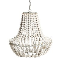 White Wood Bead Chandelier | Light Fixtures Design Ideas