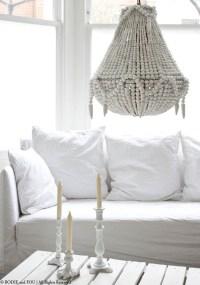 White Wood Beaded Chandelier | Light Fixtures Design Ideas