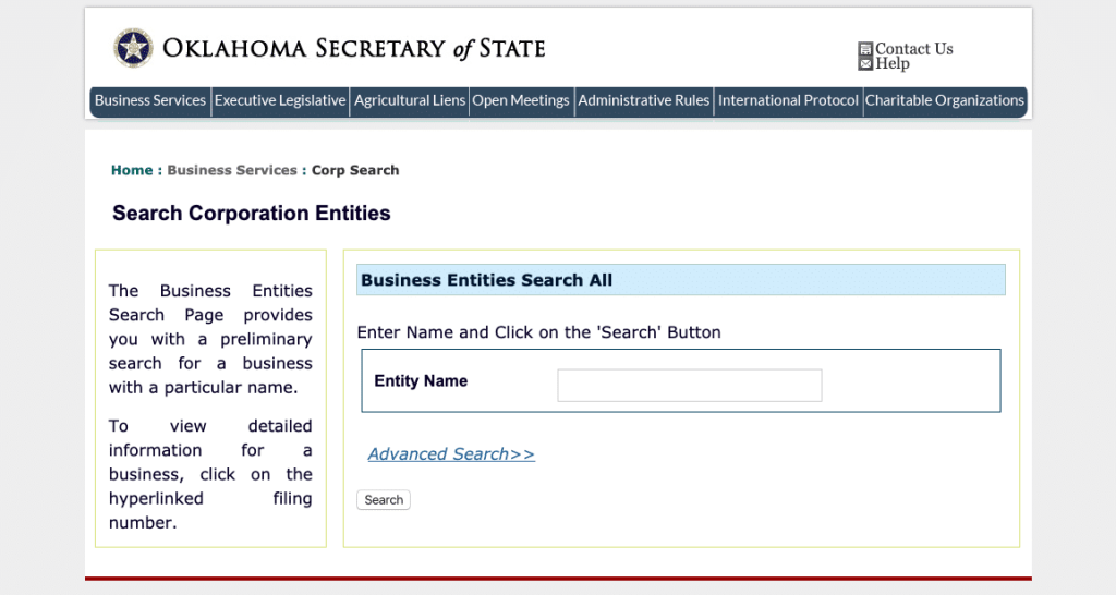Oklahoma Serch Corporation Entities Page