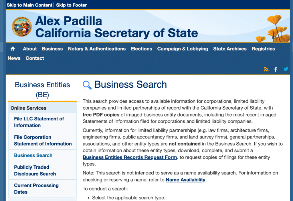 California business entities search