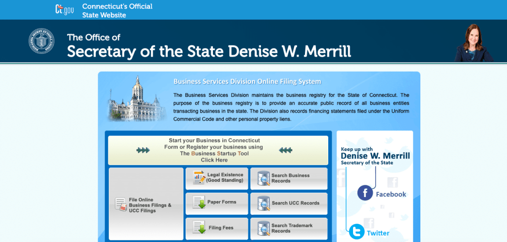 Connecticut Secretary of the State website