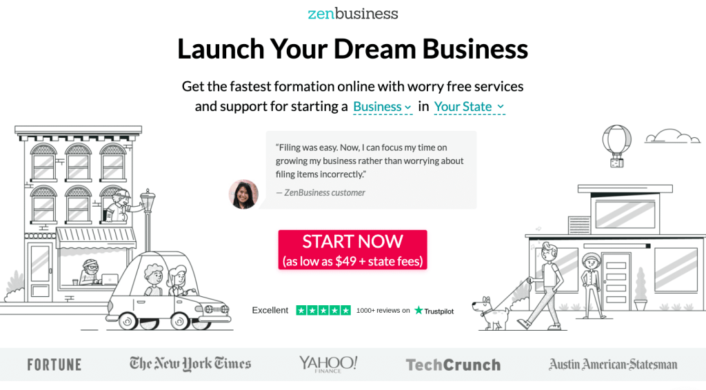 ZenBusiness home page