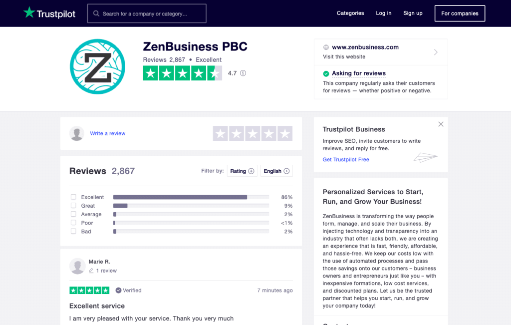 ZenBusiness Trustpilot Reviews July 2020