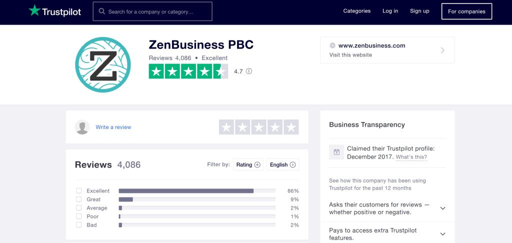 ZenBusiness Trustpilot reviews October 2020