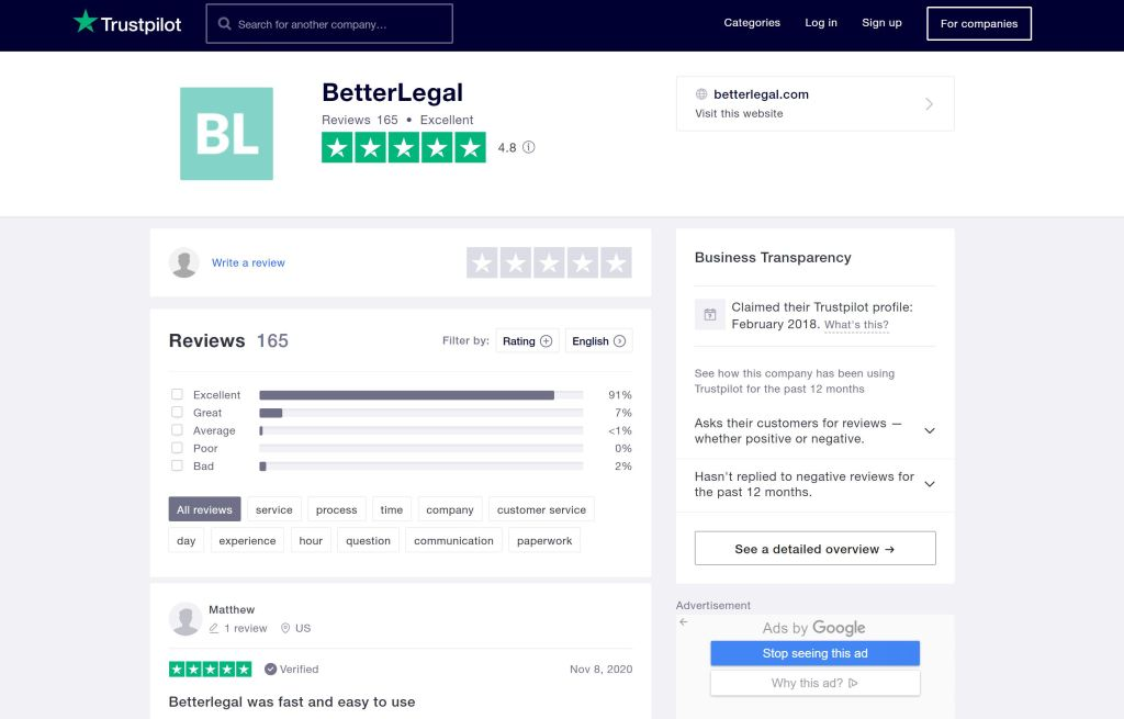 BetterLegal Trustpilot reviews