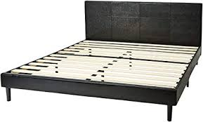 amazonbasics faux leather platform bed frame