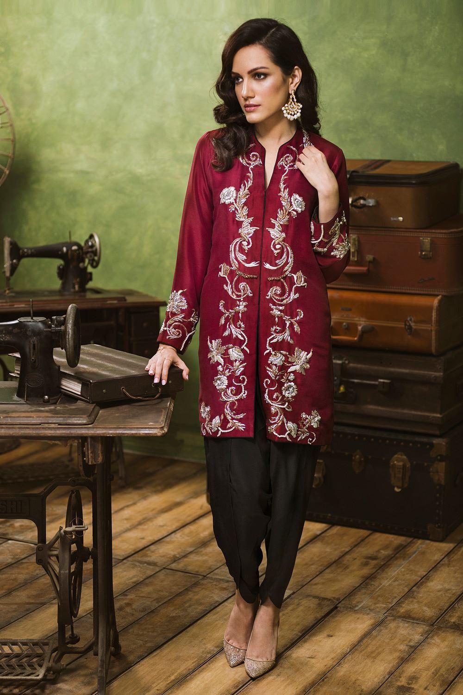 Red Mehndi Dress featuring Zardozi handwork
