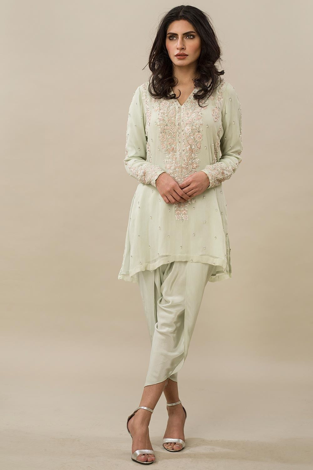 Resham Shirt with Tulip Pants for a Mehndi Ceremony Party