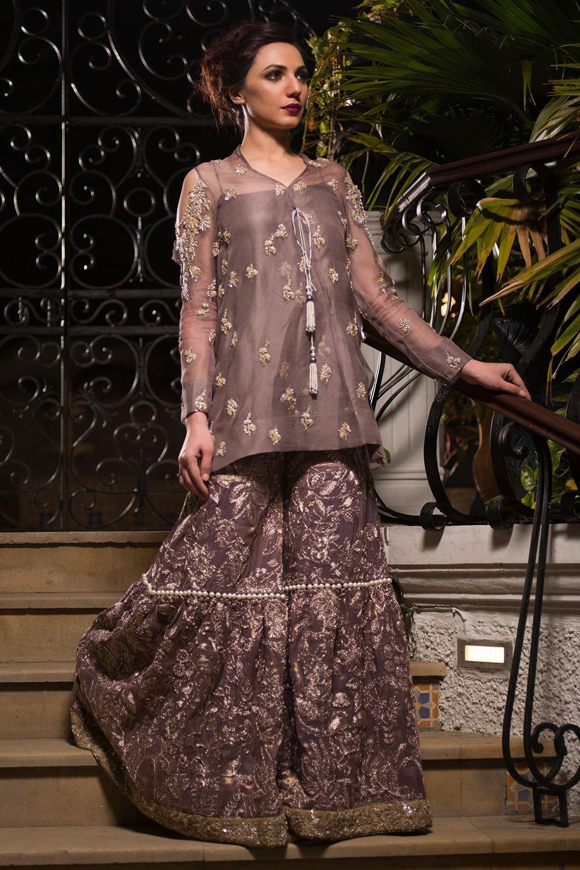 Silk Embroidered Gharara Mehndi Dress by Nida Azwer