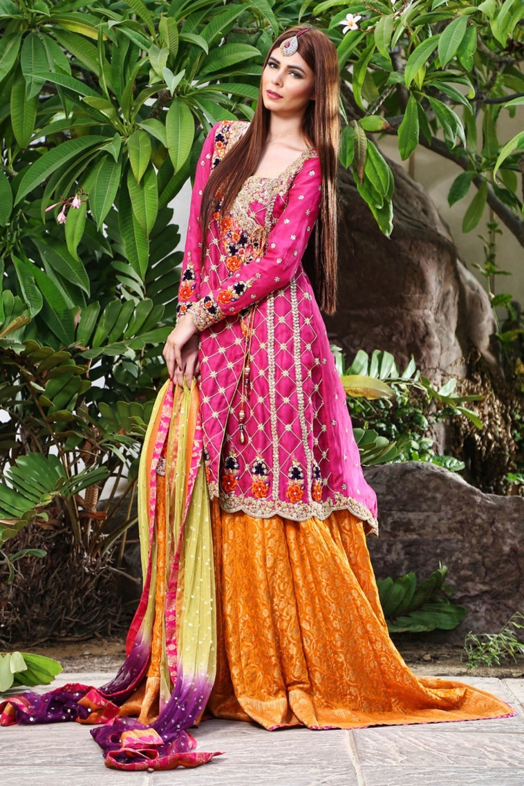 f86e9211e8 Pakistani Traditional Lehnga Choli Mehndi Dress by Sana Abbas in Bright  Colors