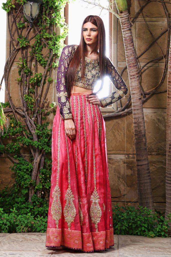 Stunning Silk Lehenga Choli Pakistani Mehndi Dress by Sana Abbas