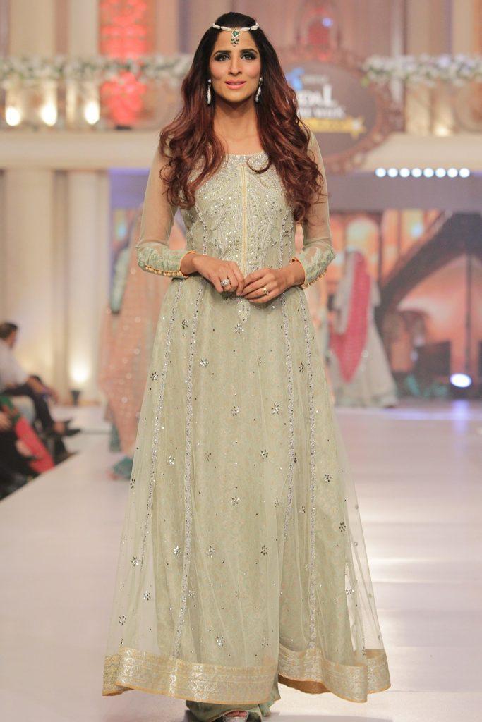 Sana Abbas Formal Dresses Features this Beautiful and Decent Floor Length Pakistani Mehndi Dress
