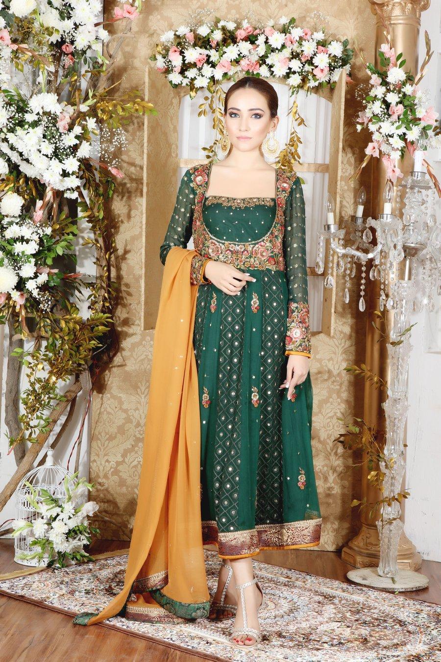 Pure Chiffon Peshwas with multi color Resham work by Sarosh Salman Mehndi Dress with Jamawar Pant and Mustard Chiffon Dupatta