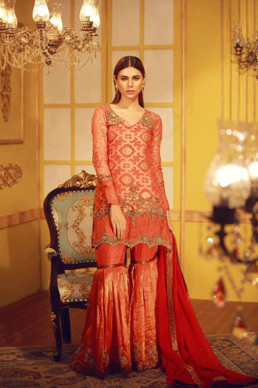 Pure self & zari organza Mehndi outfit with zardozi work,paired with maysuri gharara pants with zardozi motifs