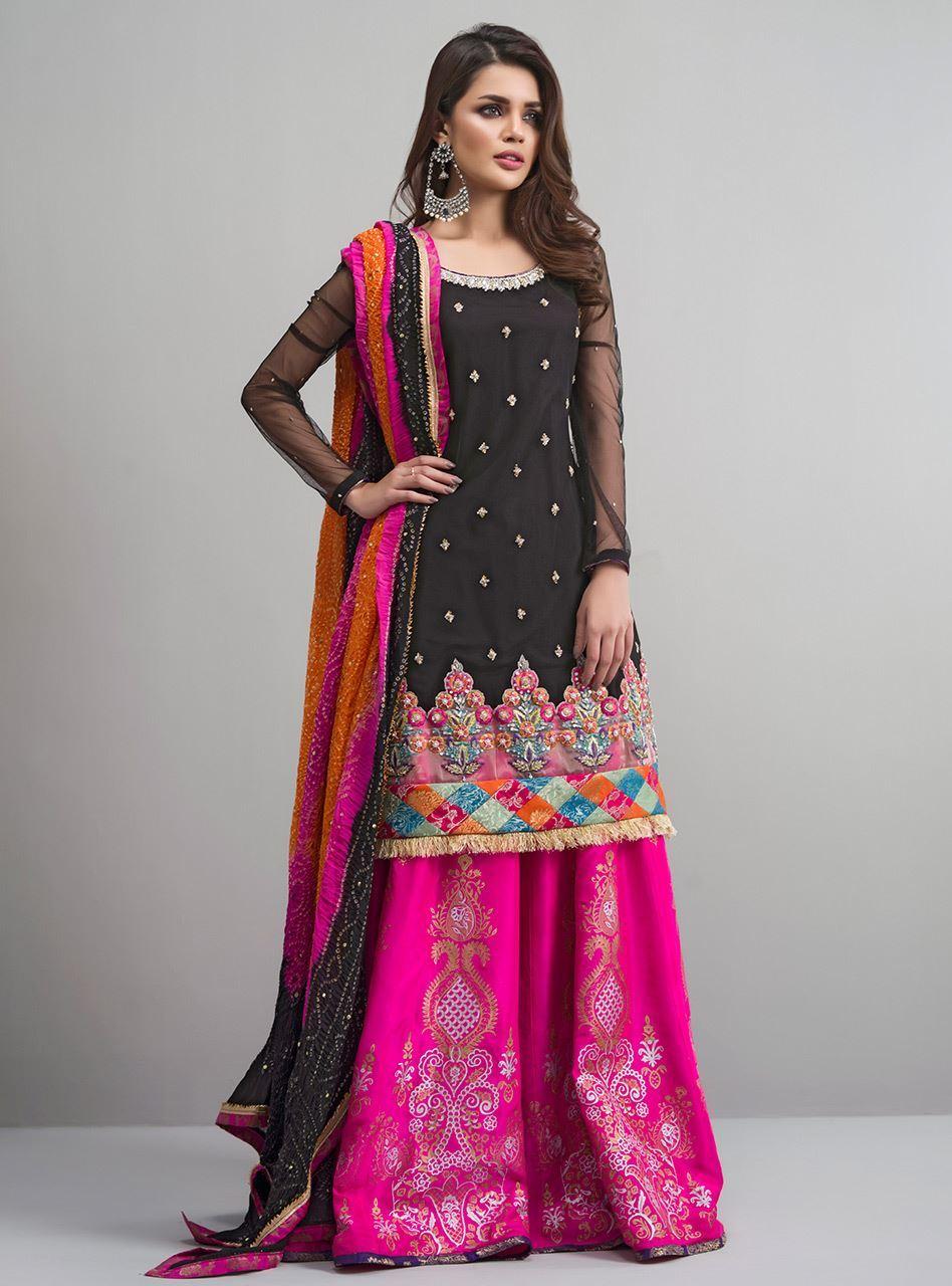 Black and Hot Pink Mehndi Dress