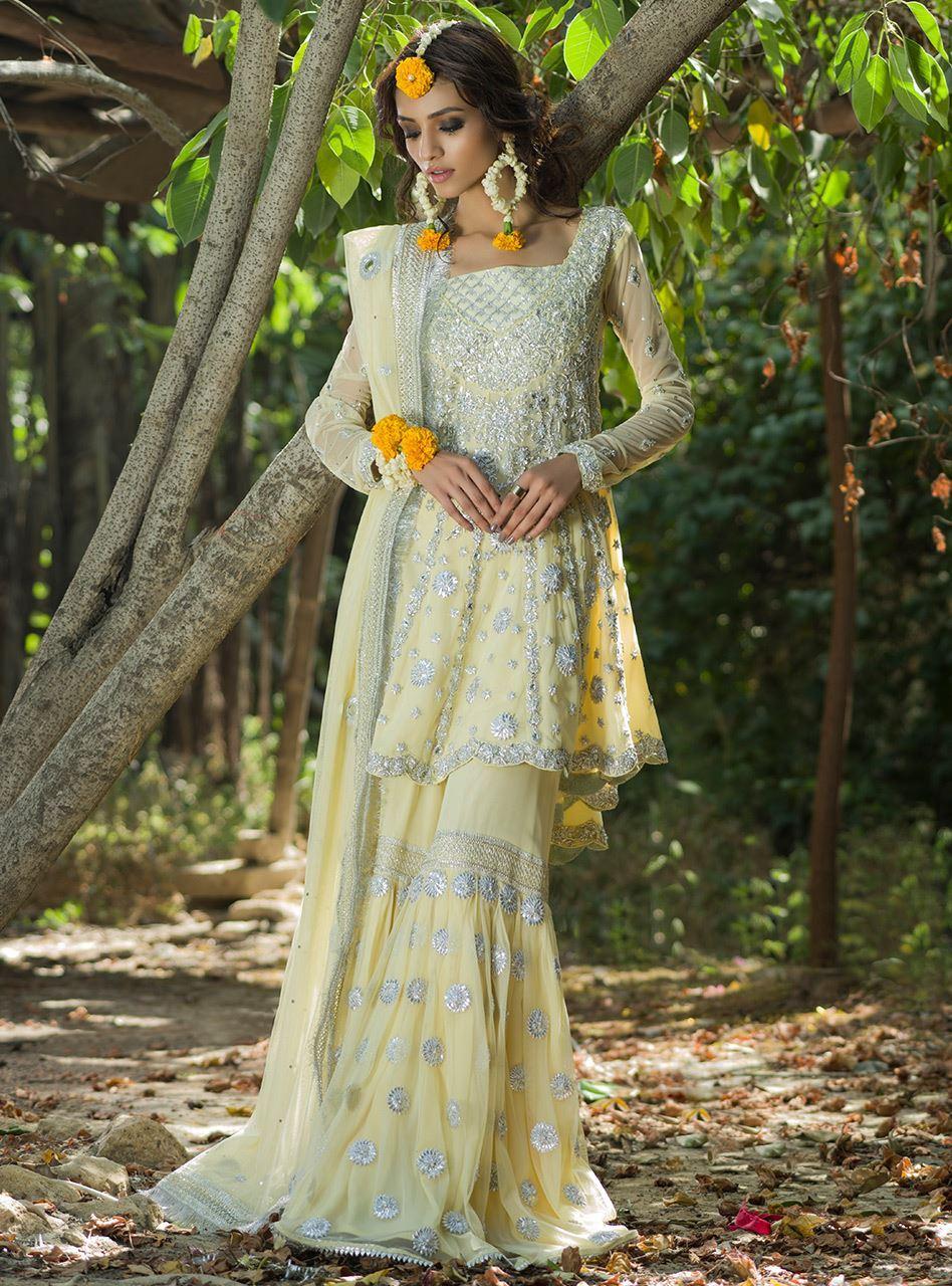 Lemon Yellow Mehndi Sharara - Bridal Mehndi Dresses