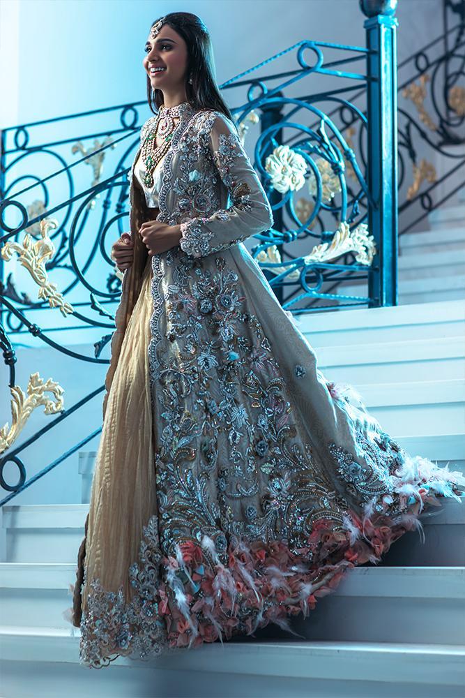 Embellished Bridal Jacket for Mehendi Function by Ammara Khan