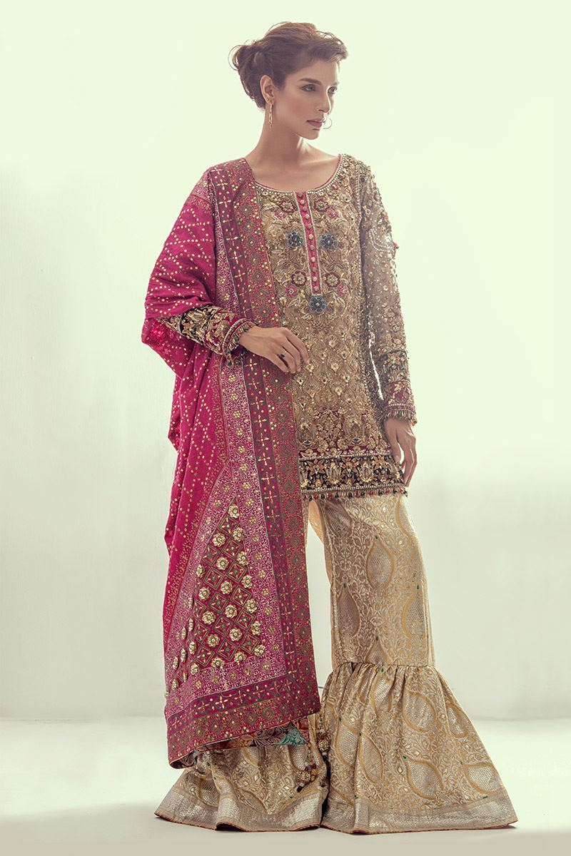 Hand Embroidered Sharara Suit by Annus Abrar