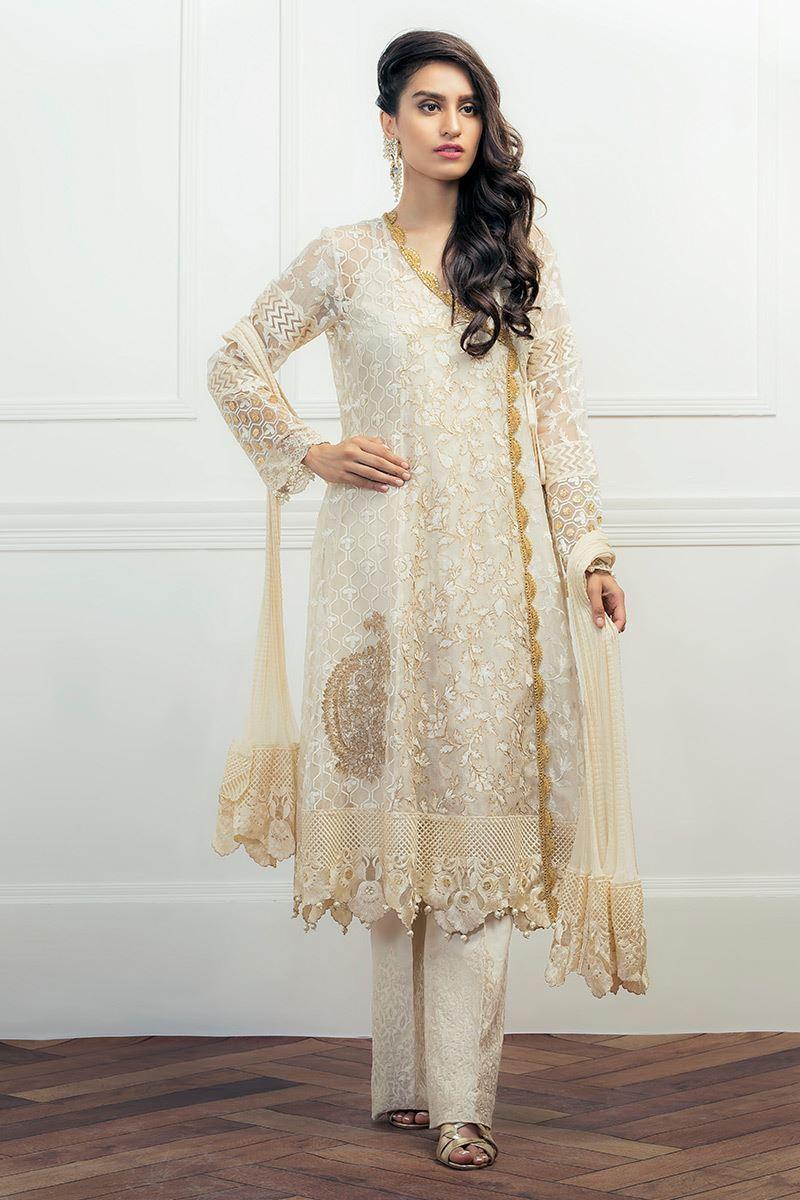 Organza Angrakha Simple Mehndi Dress by Aisha Imran