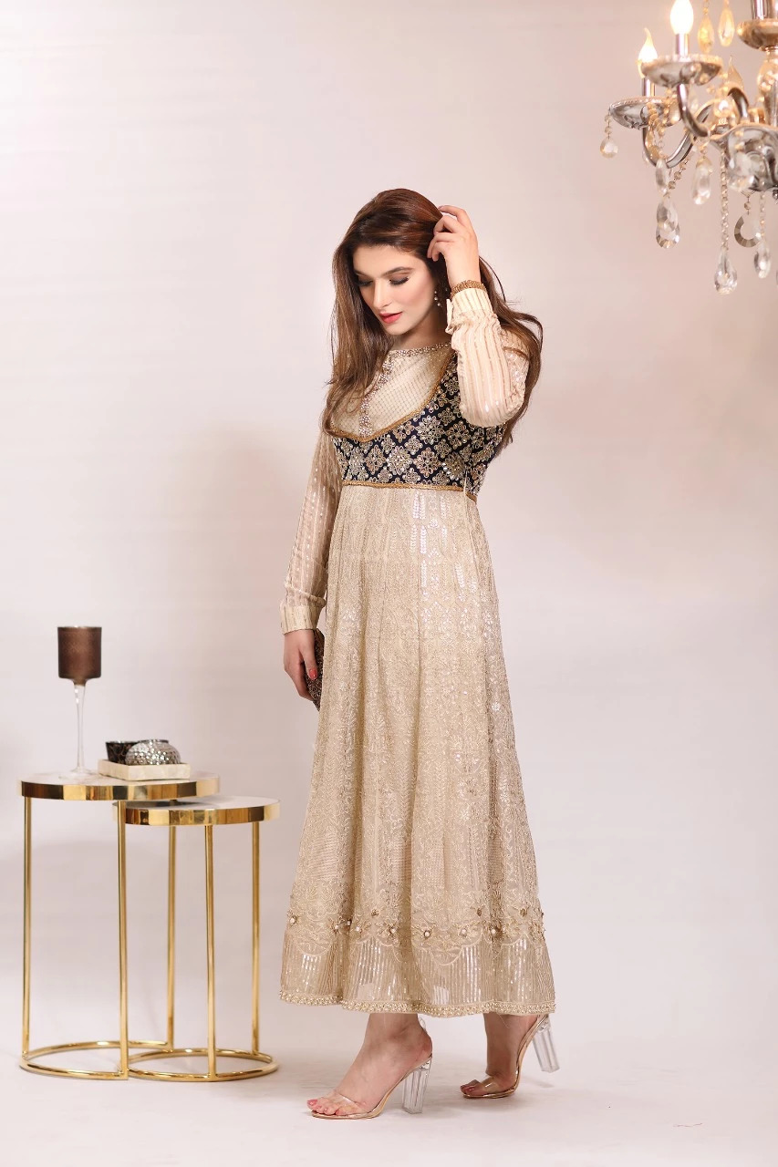 Designer Anarkali Mehndi Outfit by Zarqash