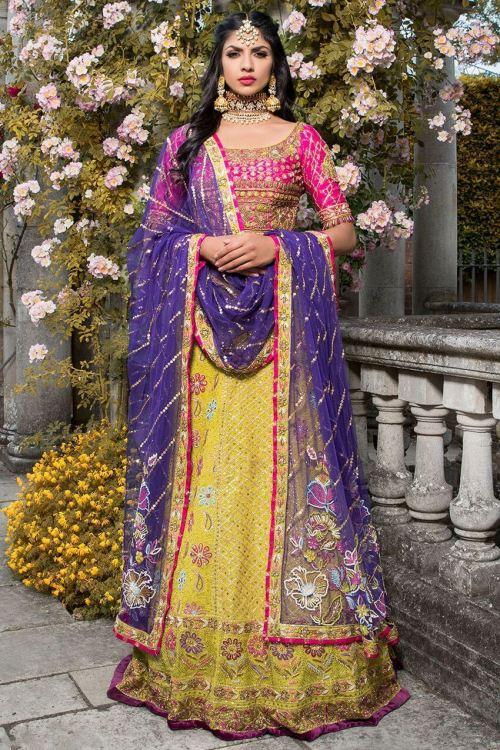 yellow and pink mehndi dresses