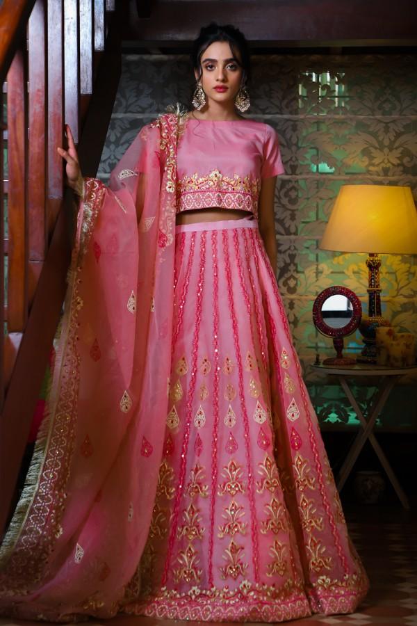 Pink Mehndi Dress for Girls